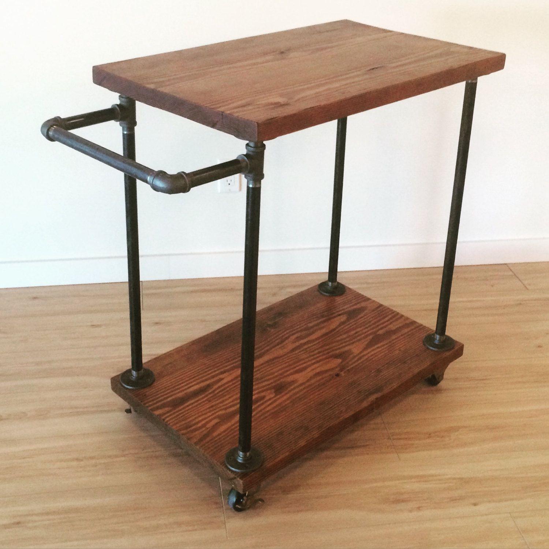 Cast iron pipe reclaimed fir bar cart by jsreclaimedwood on etsy cast iron pipe reclaimed fir bar cart watchthetrailerfo