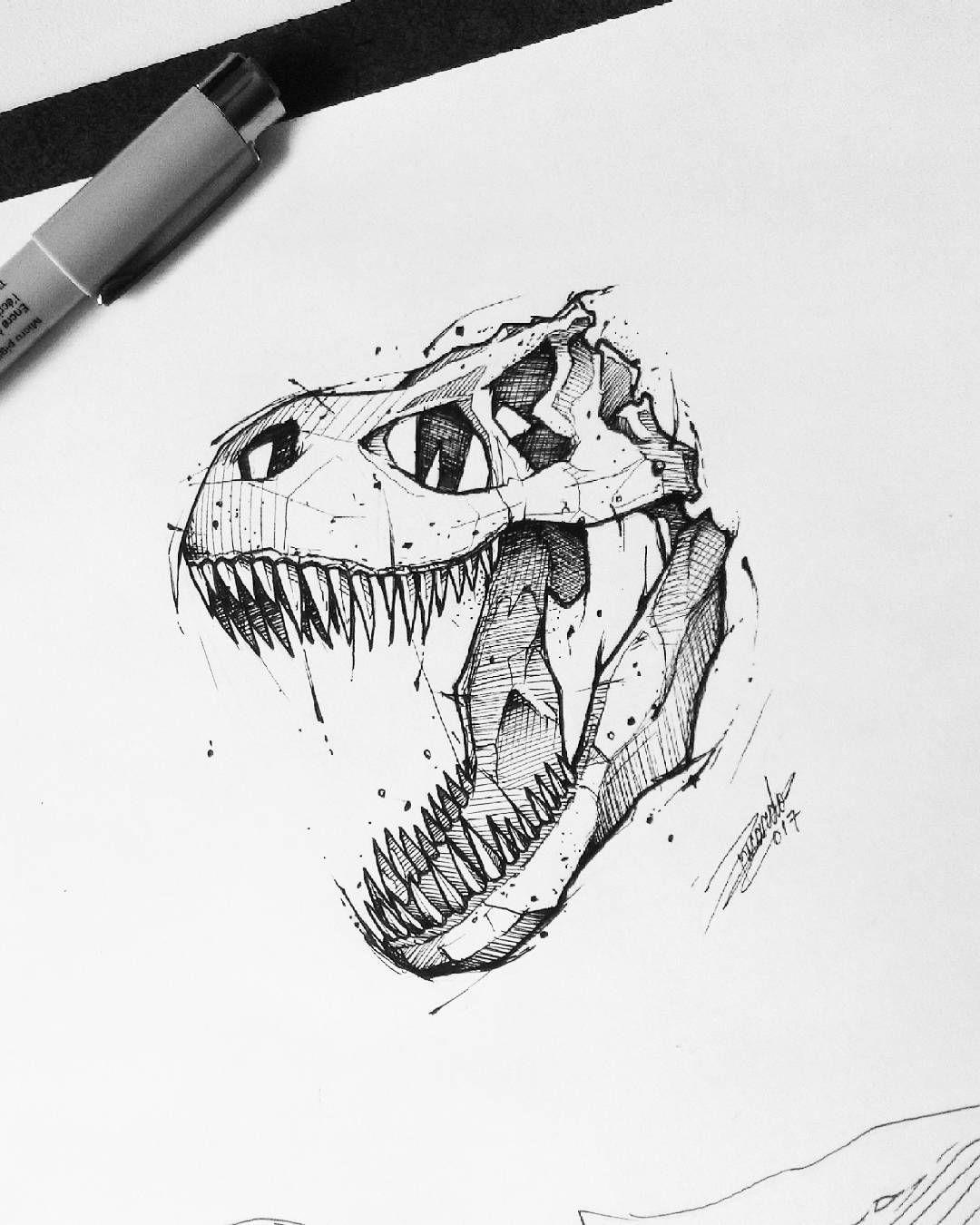 """Gefällt 215 Mal, 3 Kommentare - Ricardo F. Schmidt (@_ricardoschmidt) auf Instagram: """"#trex (7x8) disponível por R$250! . . . #trextattoo #dinosaur #dinosaurtatto #inktober #dotwork…"""" #dinosaurtattoos"""