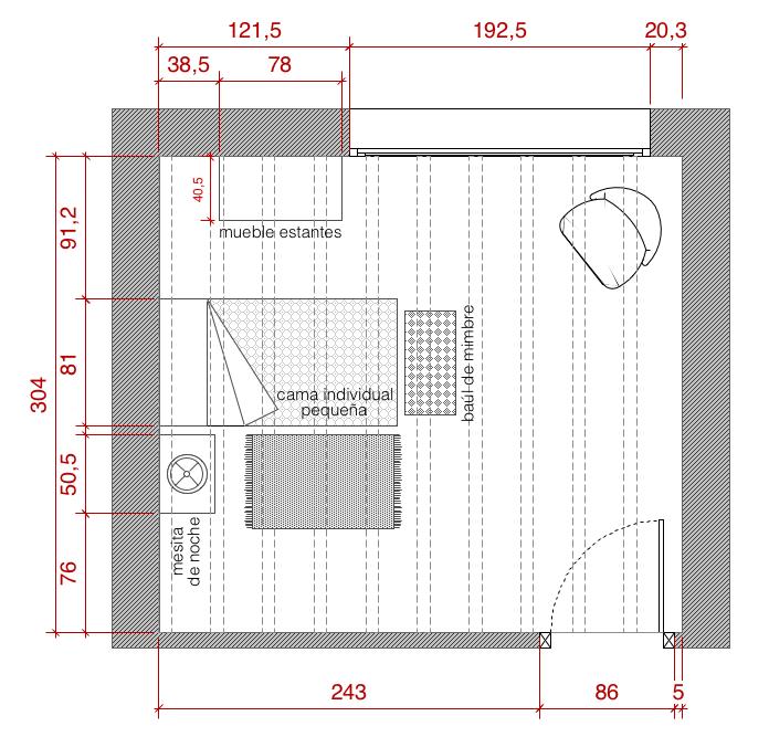 Plano de planta de distribuci n acotado del proyecto de - Plantas para habitacion ...