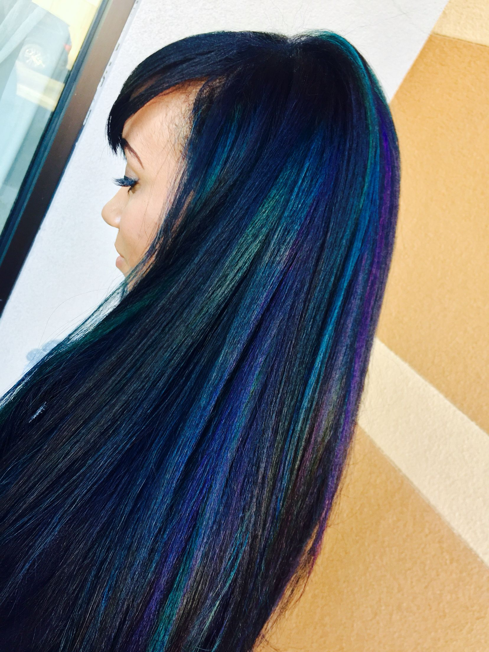Black Base Color With Blue Teal And Purple Highlights Blackhair