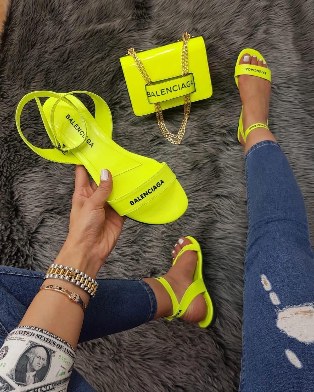 Neon sandals, Louis vuitton shoes