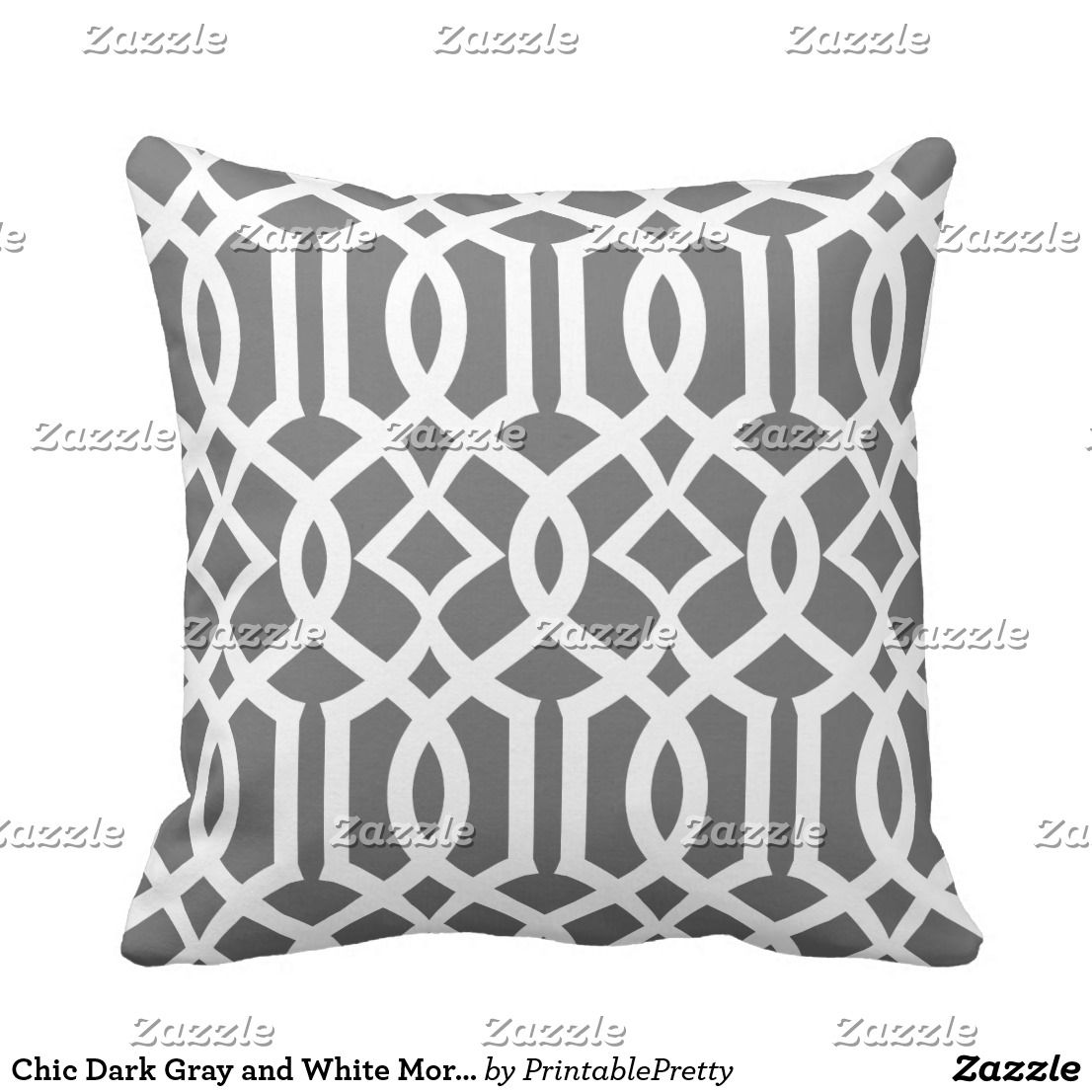 Chic Dark Gray And White Moroccan Trellis Pattern Throw Pillow Zazzle Com In 2020 Patterned Throw Pillows Pillows Moroccan Trellis Pattern