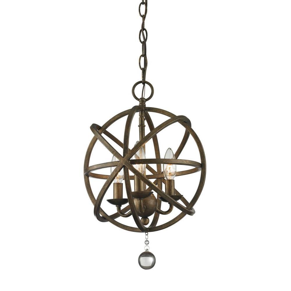 Filament Design Royal 3 Light Golden Bronze Rustic Globe Pendant