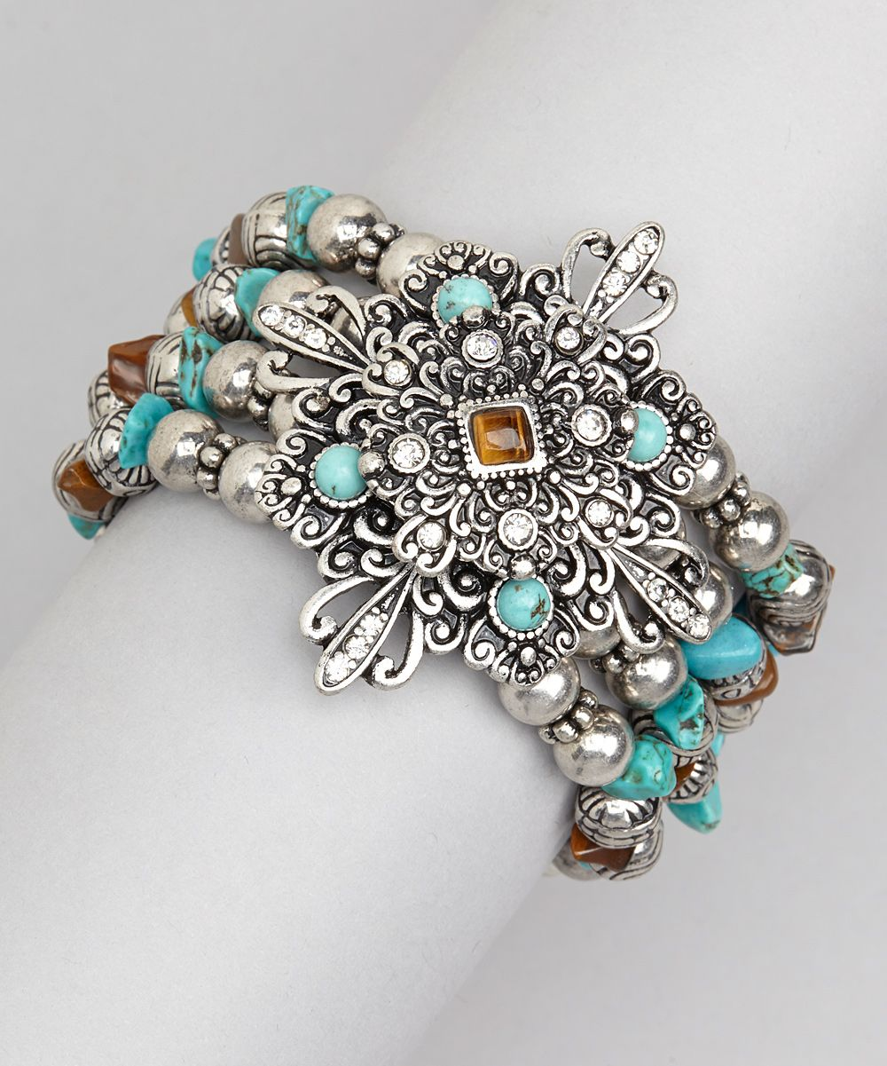 Silver u turquoise stretch bracelet daily deals for moms babies
