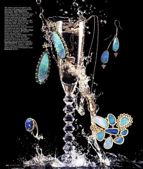 Jennifer Meyer Jewelry One-Of-A-Kind Opal and Diamond Drop Earrings in Ocean Drive Magazine