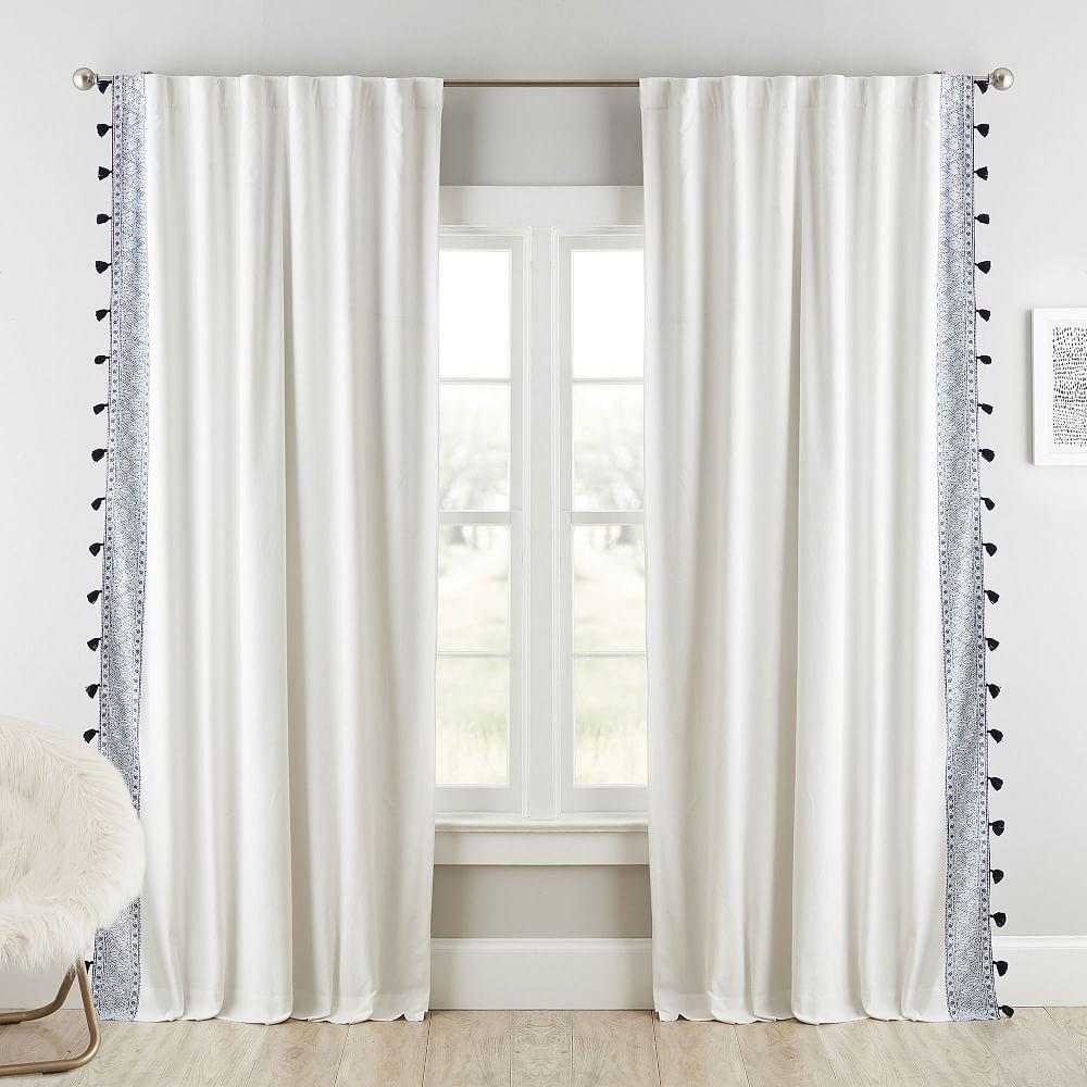 Anjolie Tassel Blackout Curtain Panel 63 Navy Multi Blackout Curtains Panel Curtains Curtains
