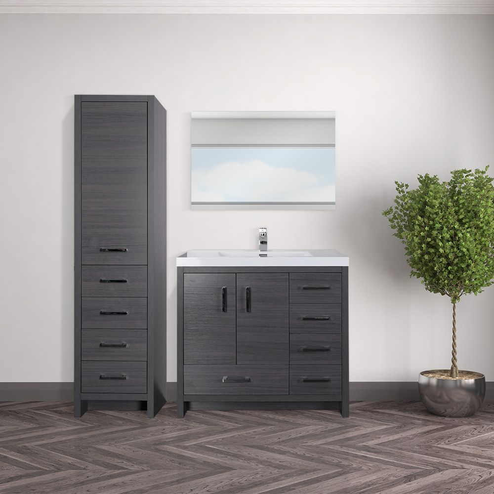 "COMBO 11"" grey-brown elevated vanity set with linen cabinet and"