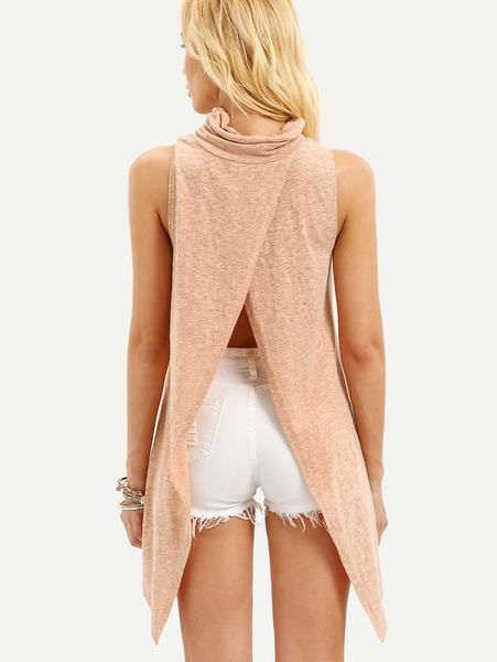 Apricot Sleeveless High Neck Split Back T-shirt - Zooomberg