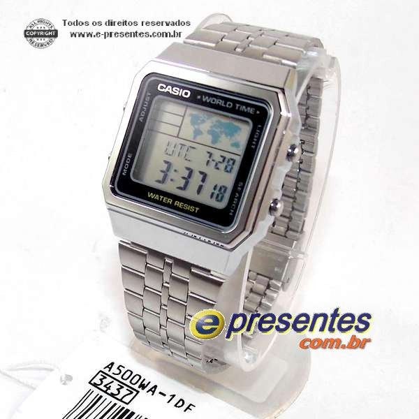6f702852b03b8 Relogio Casio Digital A500WA-1DF Quadrado Prateado   Vitrine Casio ...