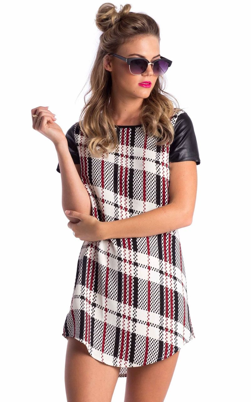 Needs some Leggins =) Hashtag Dress in Cream Tartan $40.83. Click to purchase!