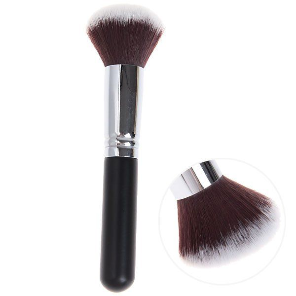 Soft Copper Tube Round Head Brush Make-up Cosmetic Tools for Women - Black and Silver can be purchased from #RoseWholeSale Online Store with Promotional Coupons and Vouchers.