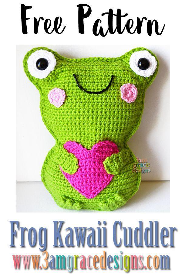 "Frog Kawaii Cuddlerâ""¢ - Free Crochet Pattern | 3amgracedesigns  frog amigurumi crochet pattern f"