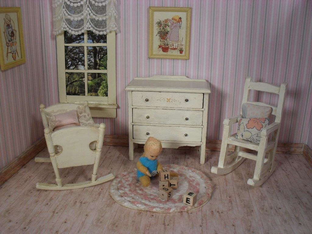 Captivating Vintage Wooden Dollhouse Nursery Furniture   Cradle Chest And Rocker   One  Inch Scale