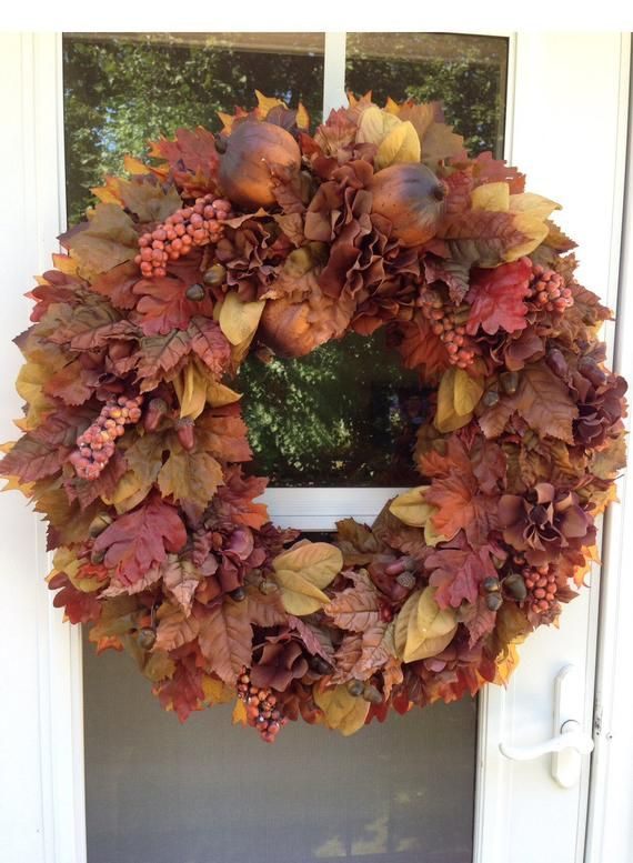 Sale Fall Wreath With Brown Rust Pomegranates Products