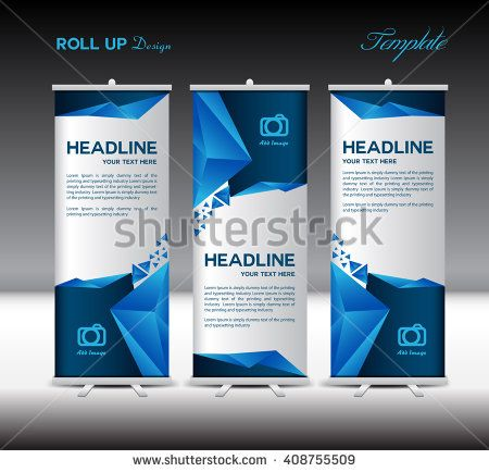 Blue Roll Up Banner Template Vector Illustration Polygon