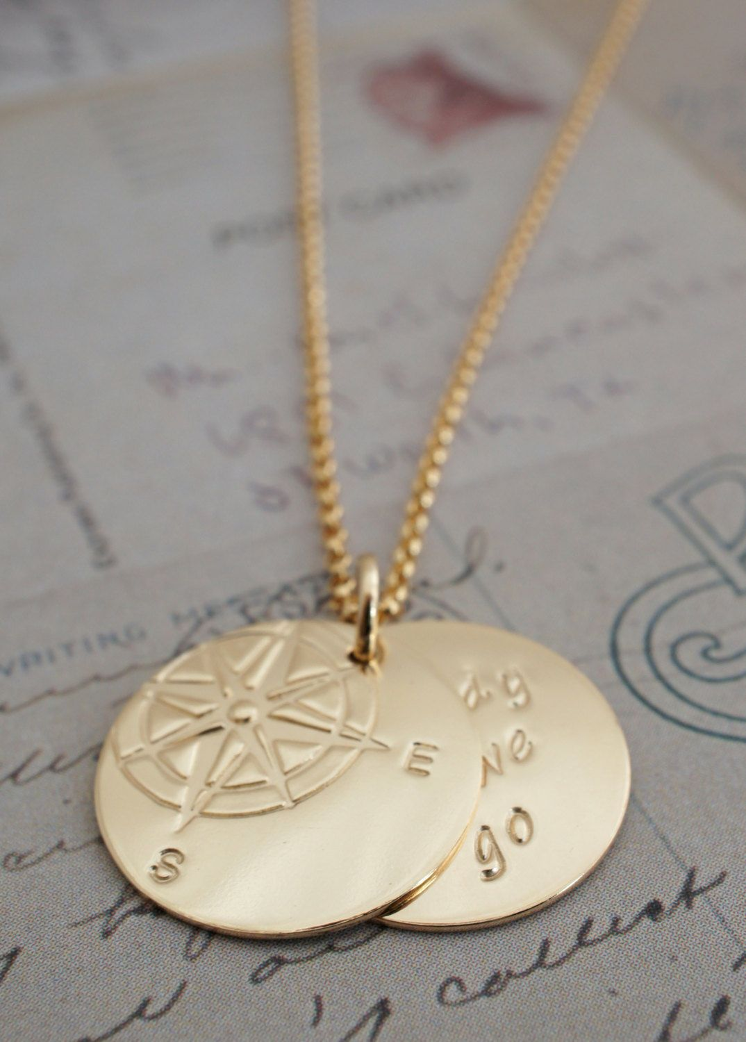 31a36fb1e Gold Filled Compass Jewelry - Compass Rose Necklace w/ Hidden Message -  Personalized Inspirational Jewelry in 14K Yellow GF by EclecticWendyDesigns  on Etsy