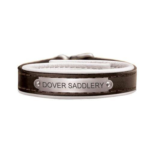 Padded Leather Nameplate Bracelet Dover Saddlery Black White Stainless Kinnaras 29 99
