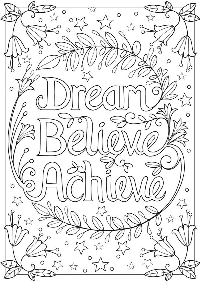 dream  believe  achieve coloring page wildflowersandwan