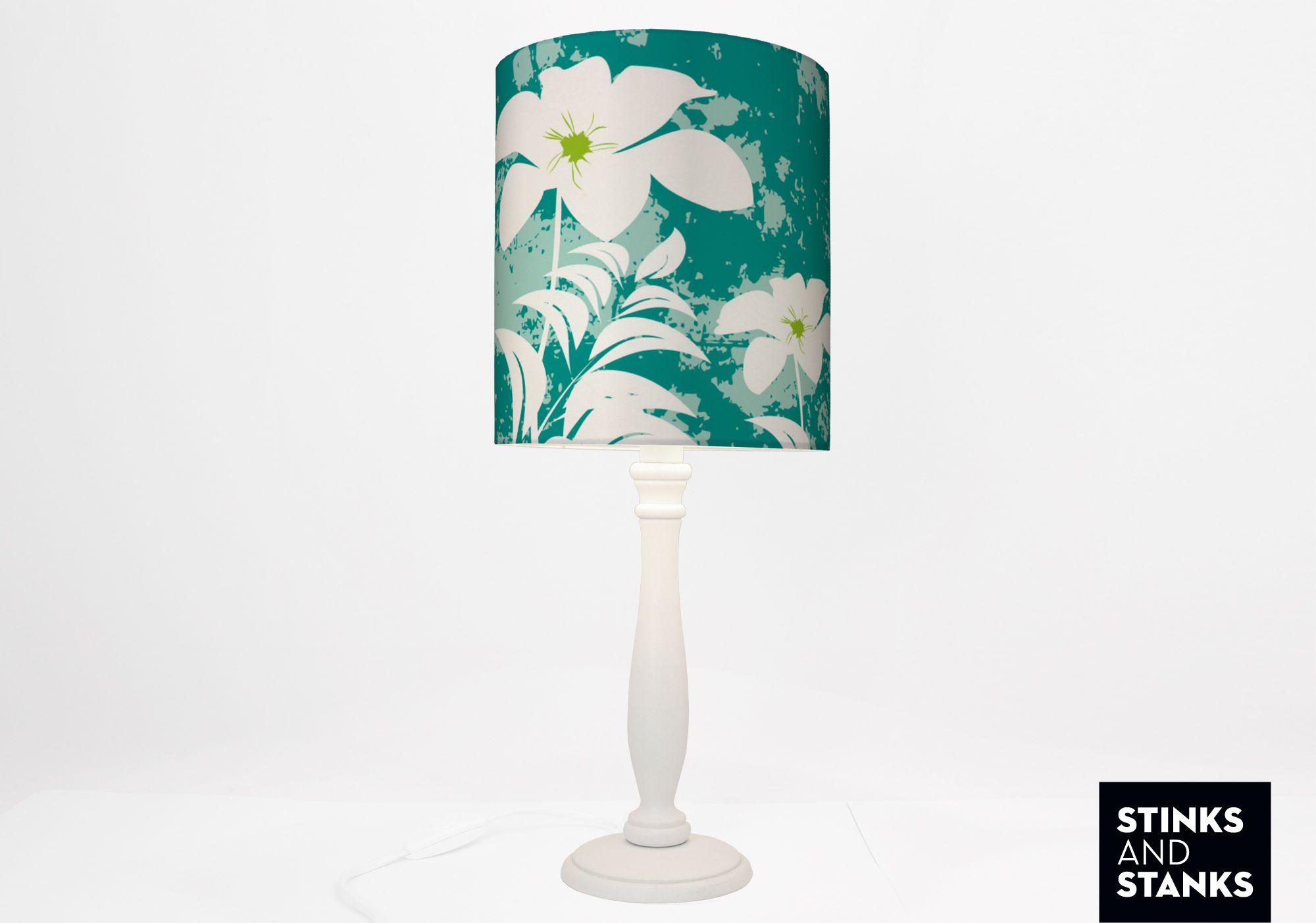 Geräumig Coole Nachttischlampe Referenz Von Mit Blumen Motiv In Türkis Von Stinksandstanks,
