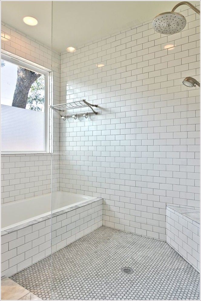 bathroom austin corner bench seat glass shower panel hexagon tile floor large window marble tub