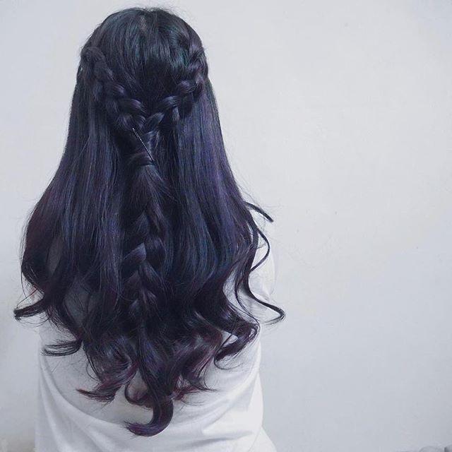dark purple-blue based hair color