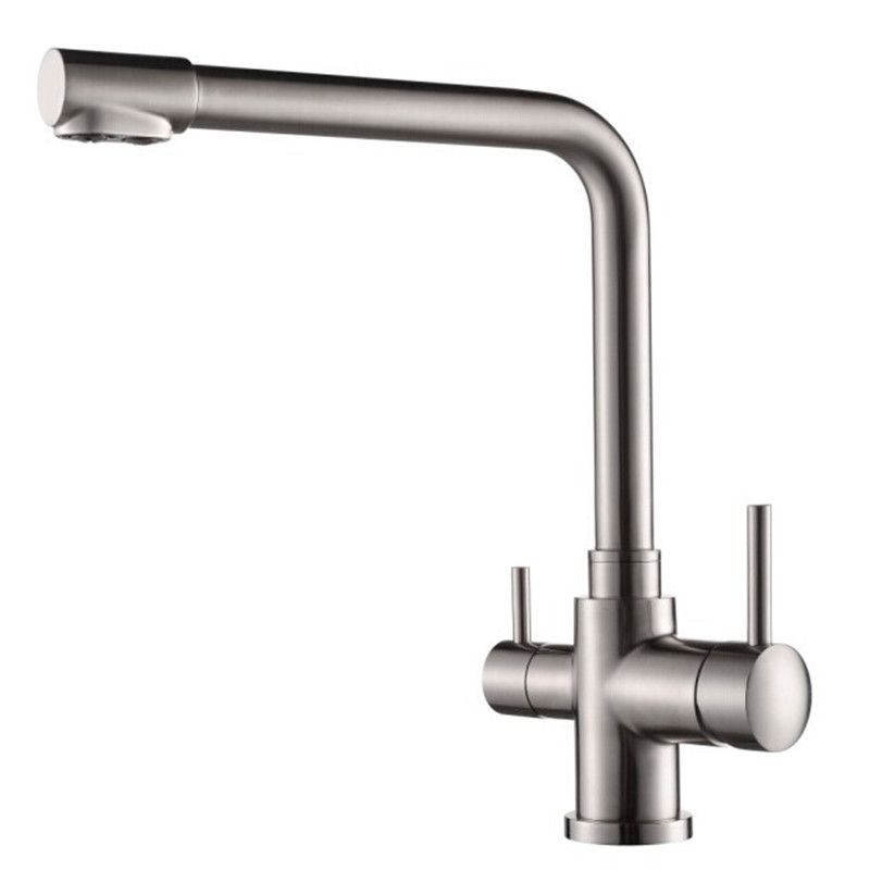 S304 Stainless Brushed Kitchen Hot And Cold Mixer Faucet Water Faucet Deck Mounted Double With Images Stainless Steel Kitchen Faucet Sink Mixer Taps Best Kitchen Faucets