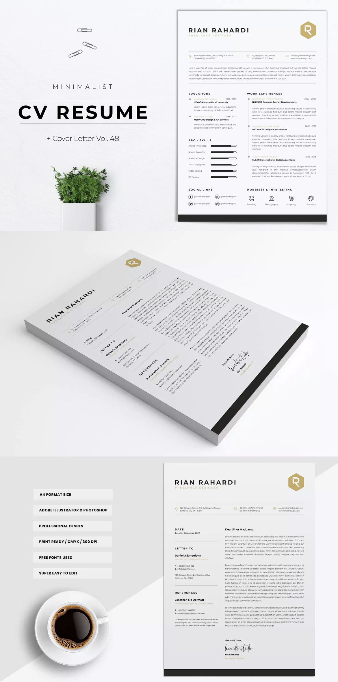 Minimalist CV Resume Template AI, EPS, PSD A4 format