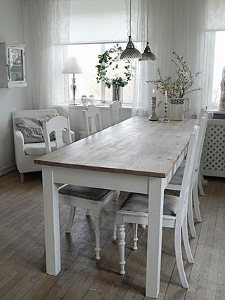 I Love This White Table Also Like The Fact That Top Is Rustic And Wont Show Scratches Or Dents