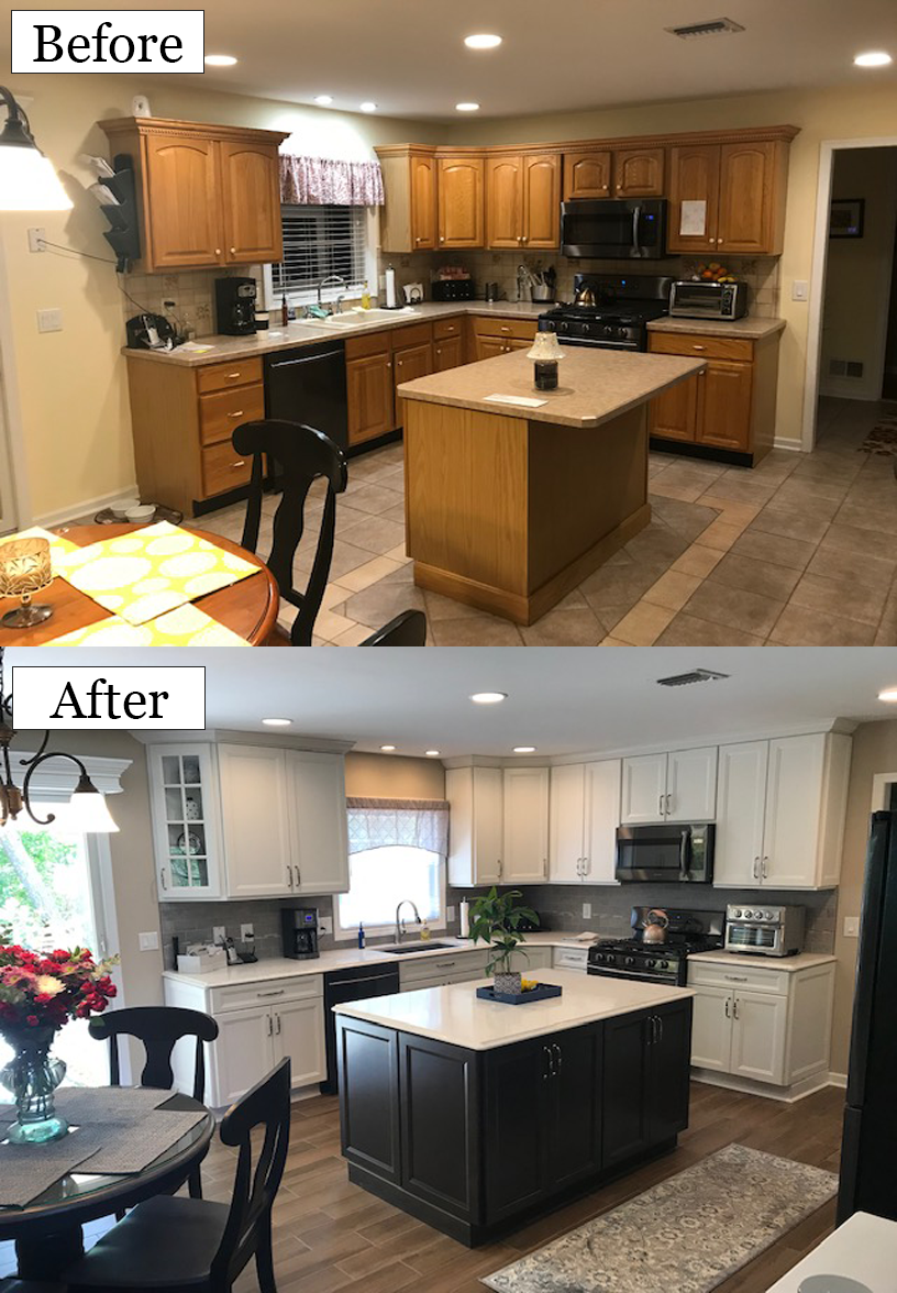 The Derby Island And Homecrest White Cabinets Tones Accent Each Other In This Kitchen To Create A Clea Kitchen Transformation Homecrest Cabinets Custom Kitchen