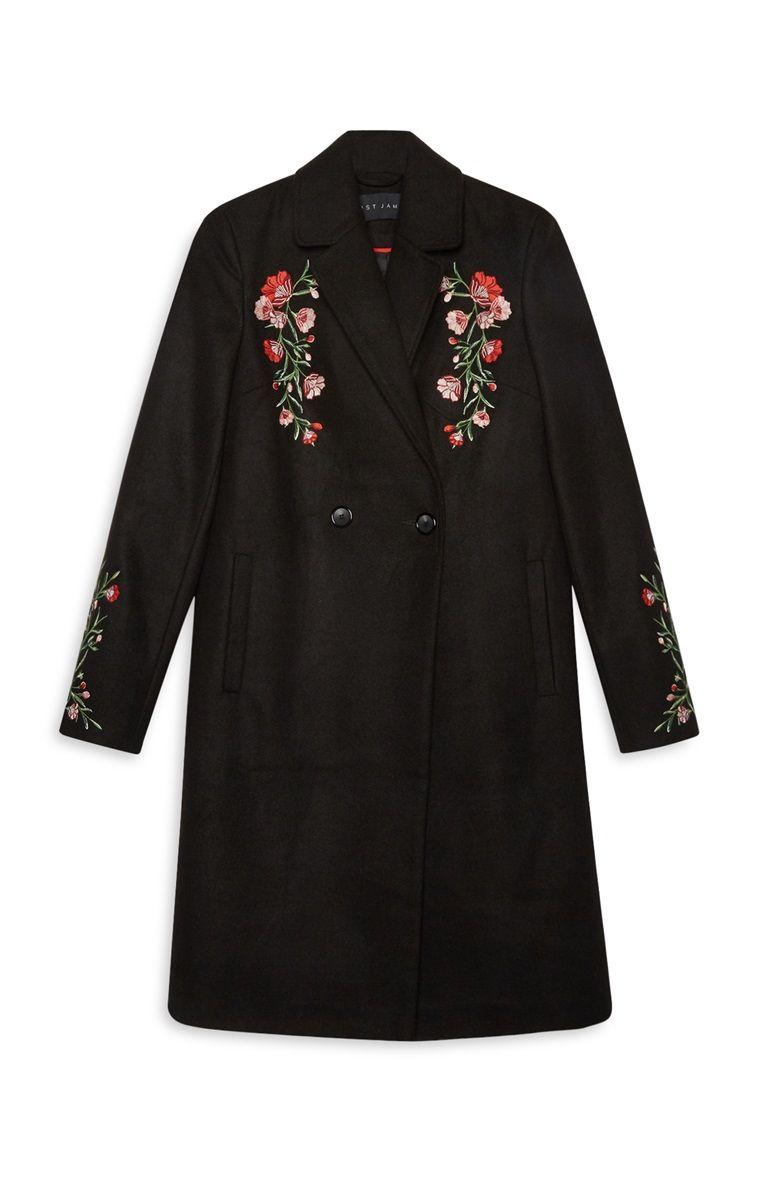 Black embroidered coat