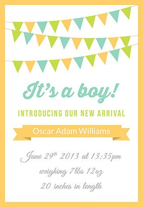 image regarding Printable Birth Announcements Templates referred to as Howdy Child Boy - Delivery Announcement Template (Absolutely free Jobin