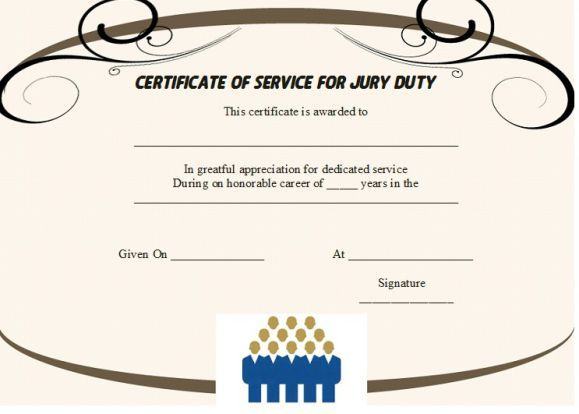 Jury Duty Certificate Of Service  Jury Duty Certificate Of
