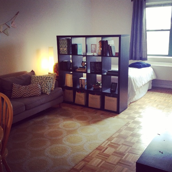 Divide your studio apartment with an IKEA shelving unit. #nyc ...