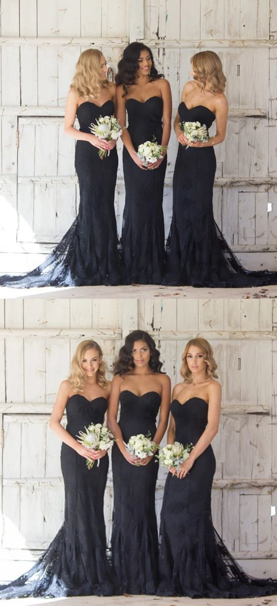Long black bridesmaid dresses, modest mermaid bridesmaid dresses, sweetheart wedding bridesmaid dresses #lacebridesmaids