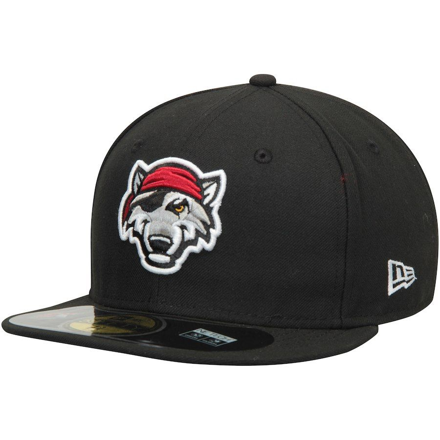 Men s Erie SeaWolves New Era Black Authentic Home 59FIFTY Fitted Hat ... 0b946d0b8da7