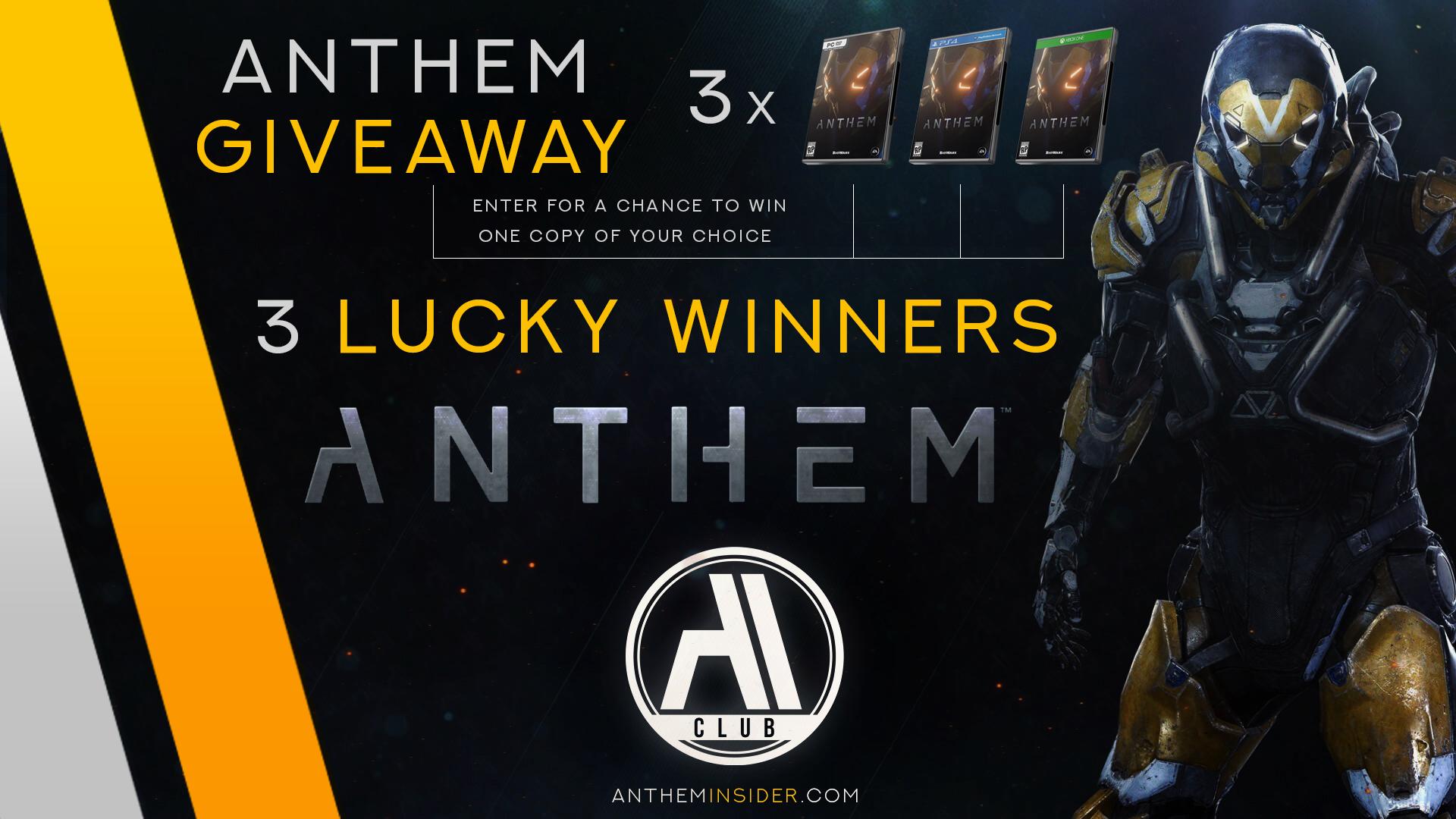 Anthem Game Giveaway 3 Digital Copies Sponsored By Anthem Insider Ai Club Anthem Game Game Giveaway Anthem