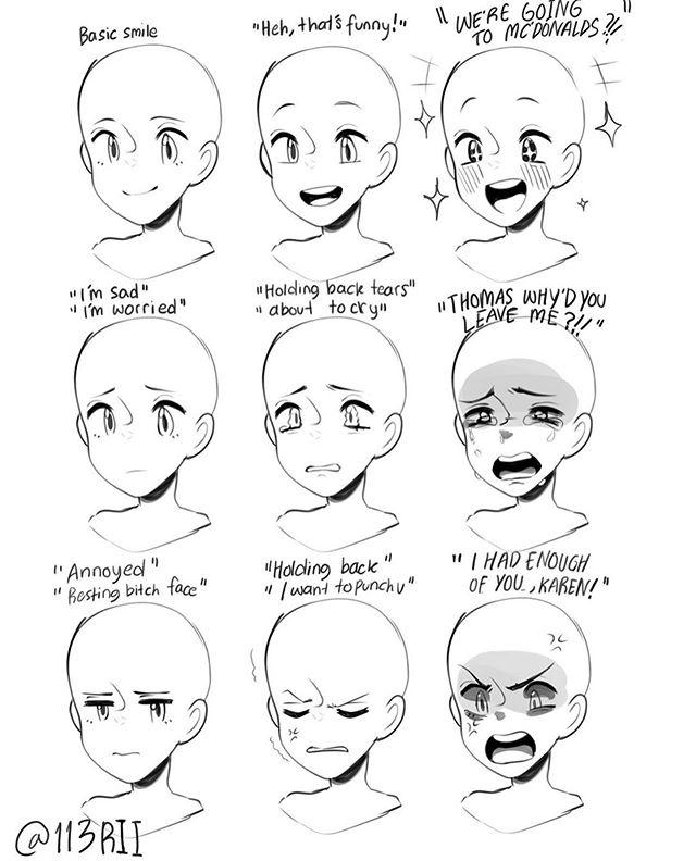Art Tutorials And References On Instagram Anime Expression References Follow Artadvicee F In 2020 Drawing Face Expressions Drawing Tutorial Face Drawing Expressions