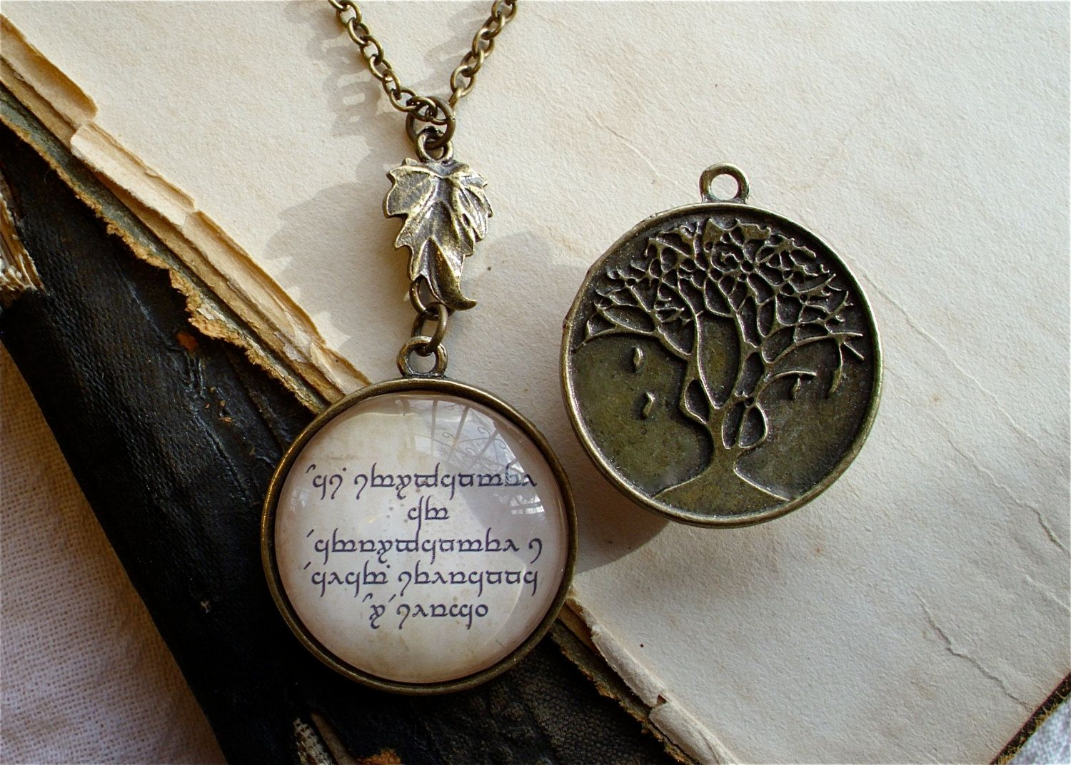 Elven necklace quenya and leaf of lorien pendant in brass lord elven necklace quenya and leaf of lorien pendant in brass lord of the rings aloadofball Choice Image