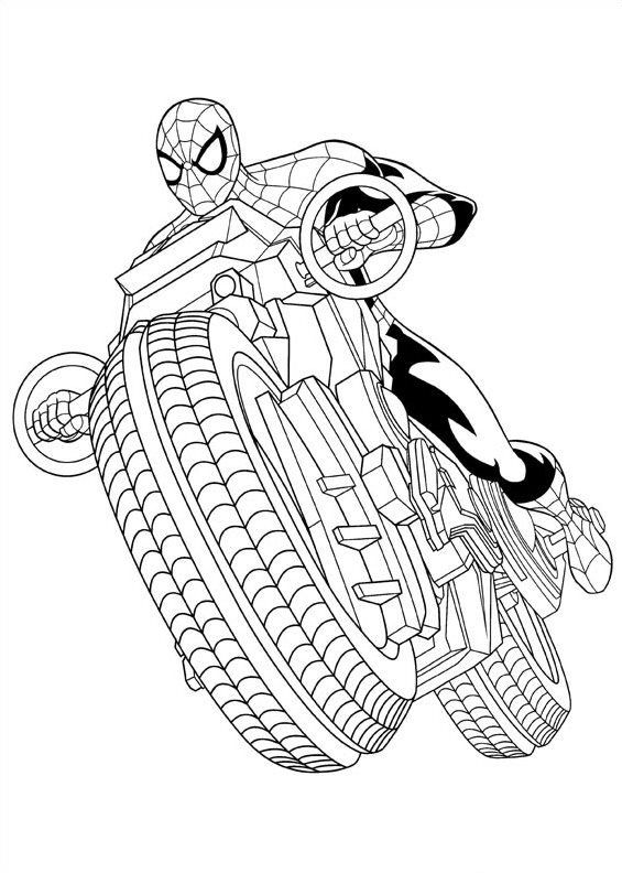 63 Coloring Pages Spiderman Motorcycle Download Free Images
