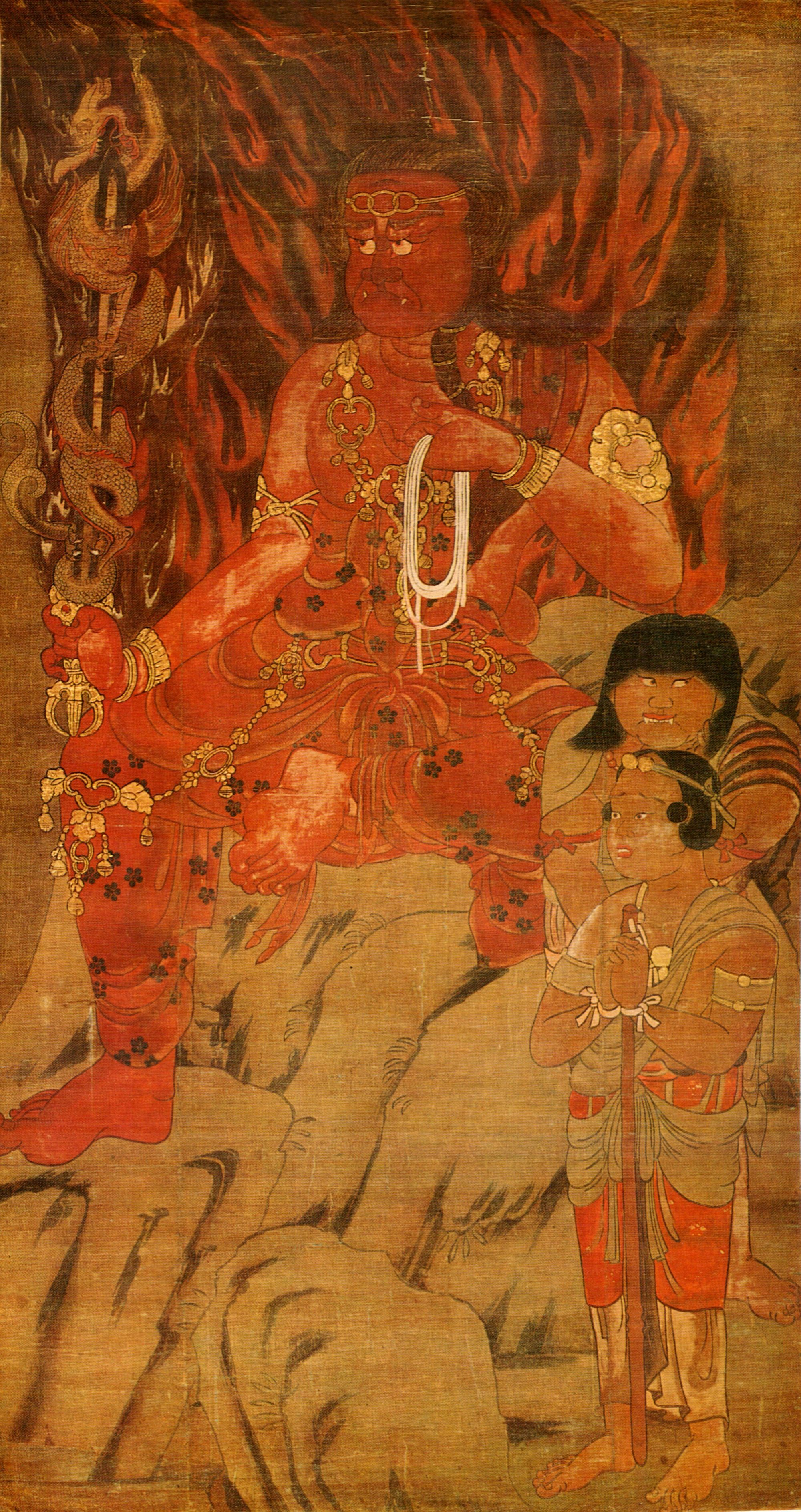 Fudō Myōō Acala Vidyaraja Is A Powerful Deity Who Protects All Living Beings By Burning All Impediments アートのアイデア 仏教芸術 仏教