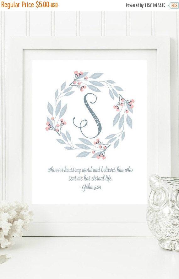 "ON SALE Instant Monogram Scripture Wall Art Print Letter ""S"" Printable Home Decor"