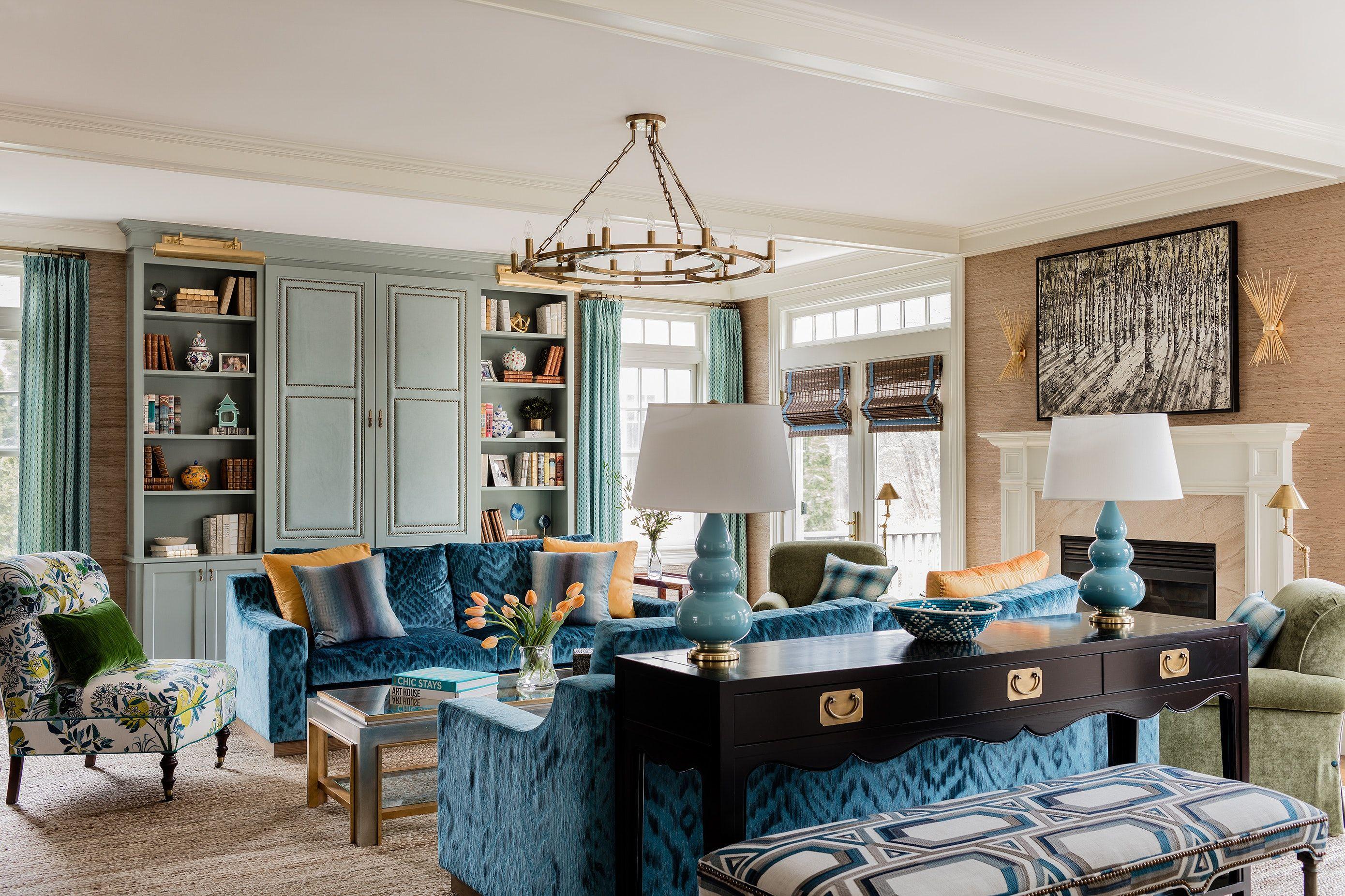 Living Room With Blue Velvet Matching Sofas And Robins Egg Built In Bookshelves Furniture Placement Living Room Furniture Buy Office Furniture