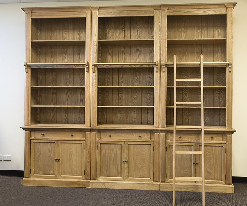 Three Bay French Provincial Library Bookcase Bookcase Library Bookcase Ladder Bookcase