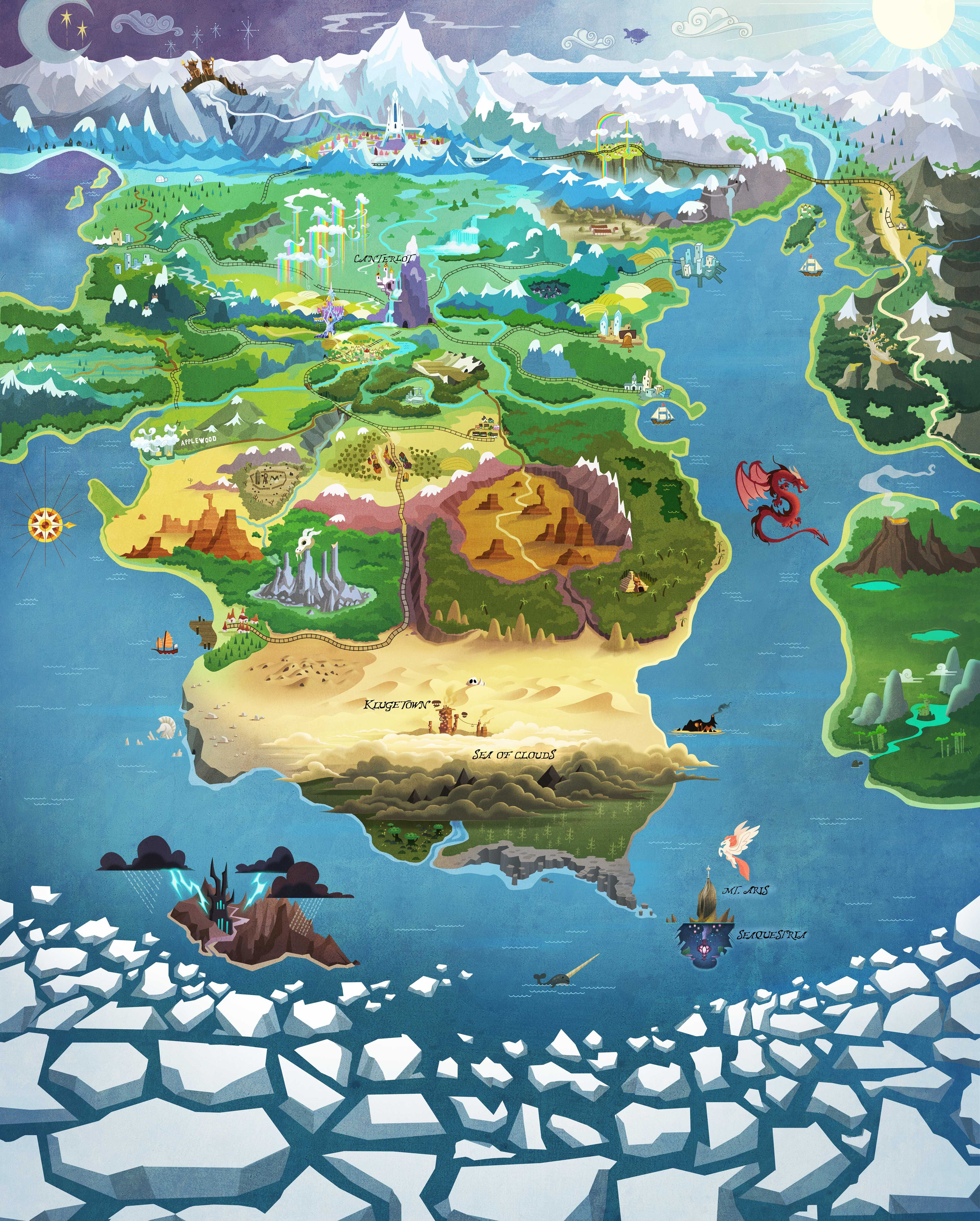 My Little Pony Map Equestria map | MLP | MLP, Mlp my little pony, My little pony drawing