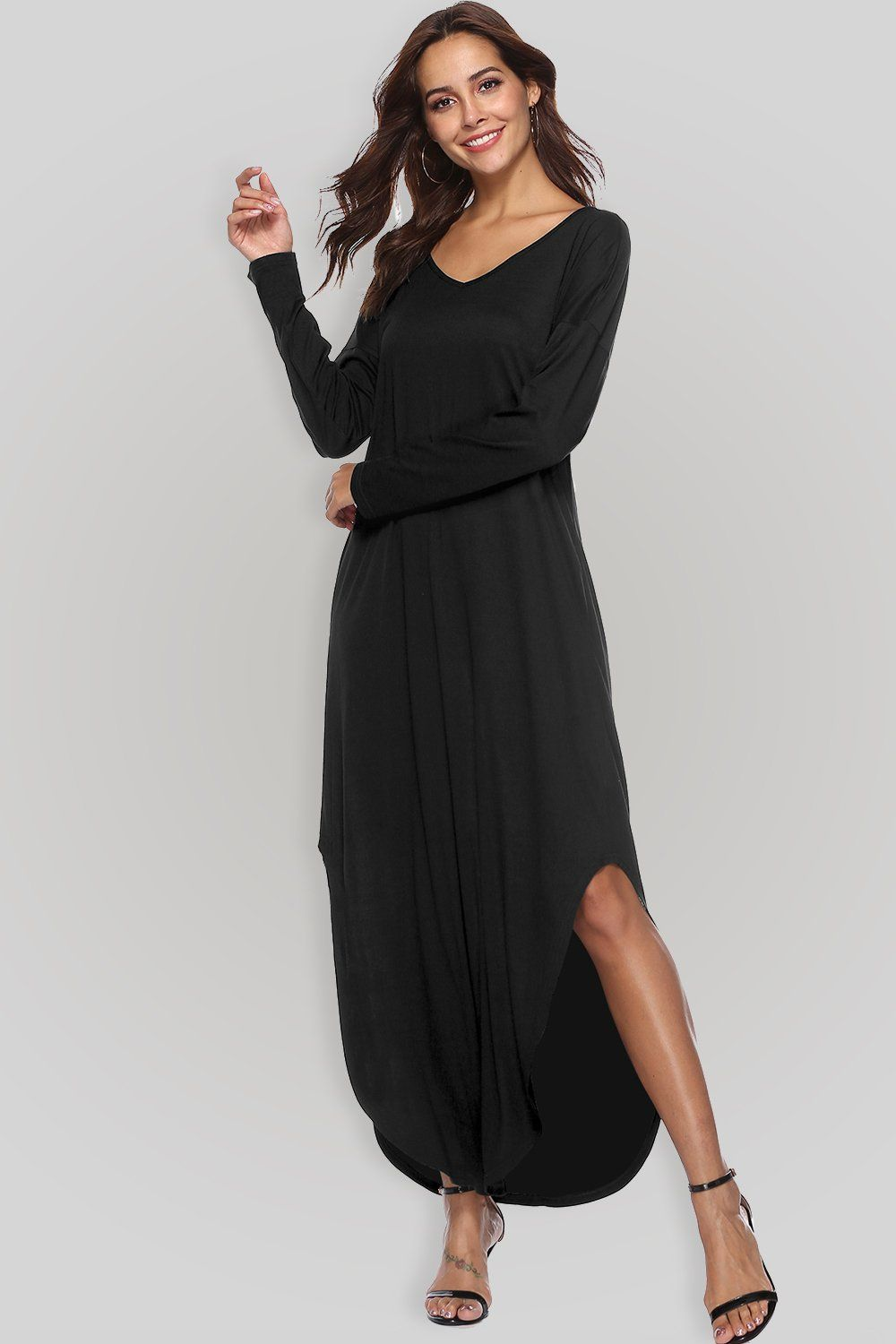 Womenus casual long sleeve slit solid party summer vneck long maxi
