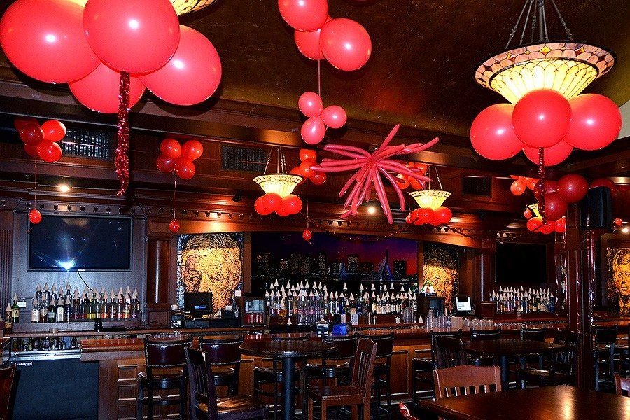 New year 39 s red ceiling decor the greatest bar 4th floor for Christmas ceiling decorations