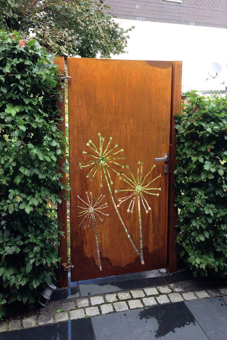 Gartentor aus Cortenstahl, Motiv Pusteblume Gartentore