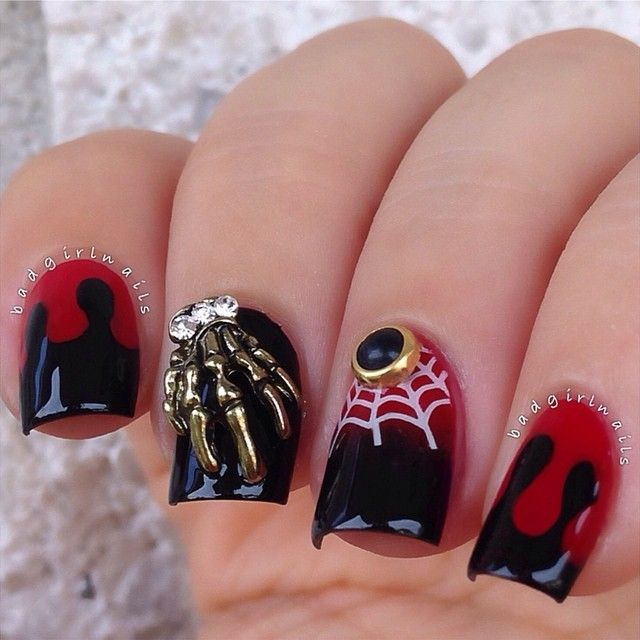 Red And Black Halloween Nail Designs Halloween Nails Halloween Nail Designs Halloween Nail Art