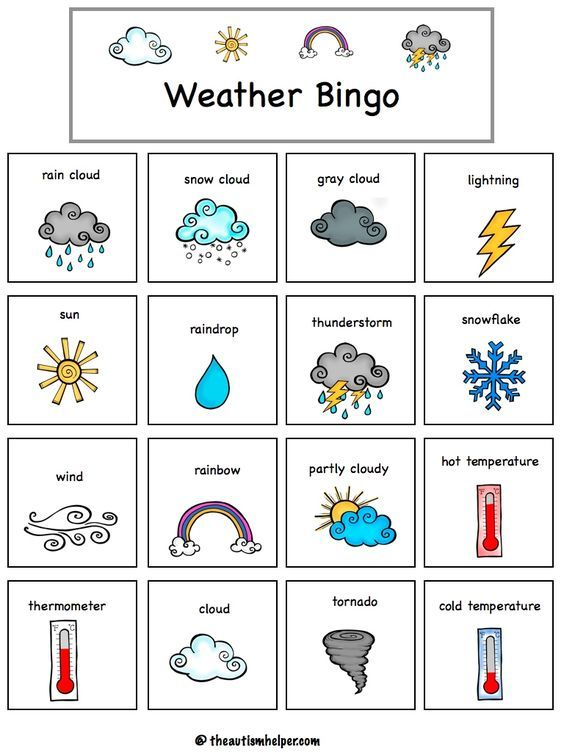 weather bingo weather el clima en ingles tiempos ingles temas de ingles. Black Bedroom Furniture Sets. Home Design Ideas