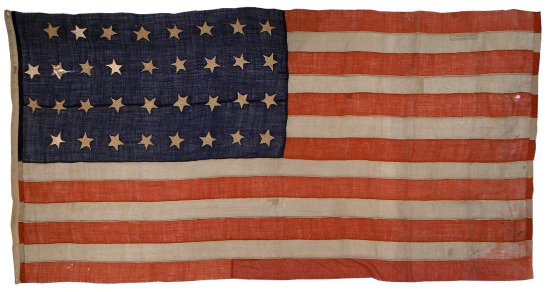 American National Flag 34 Stars Opening Years Of The Civil War This Entirely Hand Sewn 34 Star Flag Features Civil War Flags Battle Flag American Civil War
